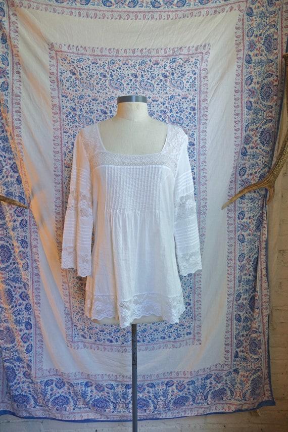 White Lace Paneled Cotton Blouse - image 2