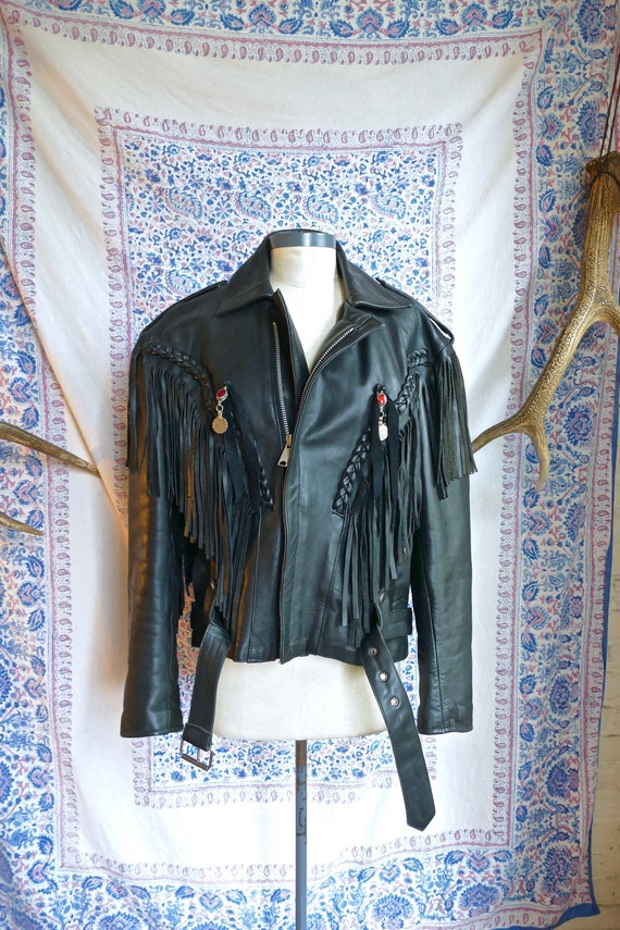 Fringe Leather Silver Concho Biker Jacket
