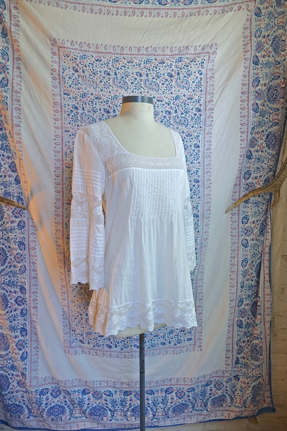 White Lace Paneled Cotton Blouse