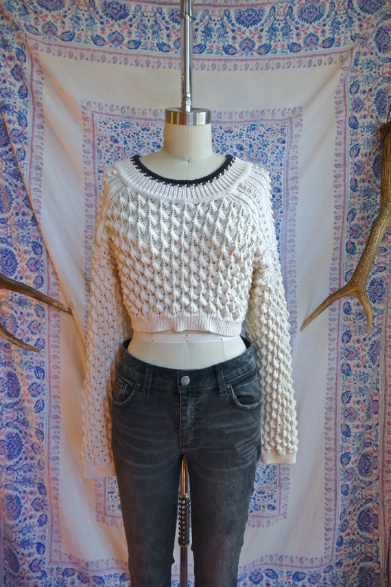 Cream Popcorn Knit Backless Cropped Sweater