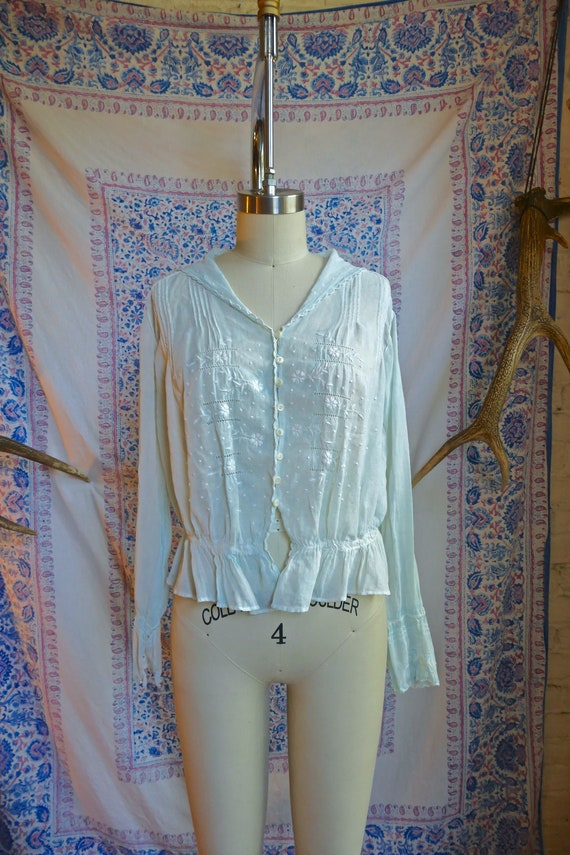 Antique Sheer Pale Blue Embroidered Cotton Blouse