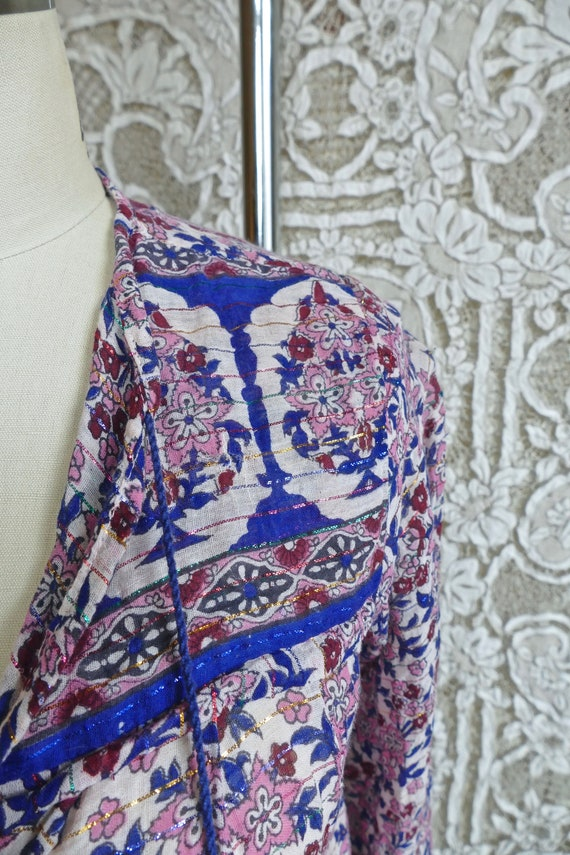Floral Indian Metallic Gauze Cotton Blouse - image 5