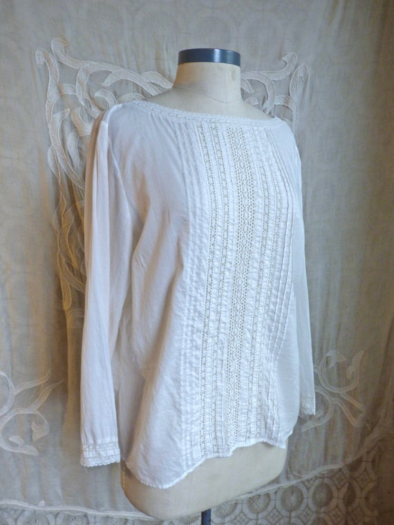 White Cotton and Lace Panel Boat Neck Blouse