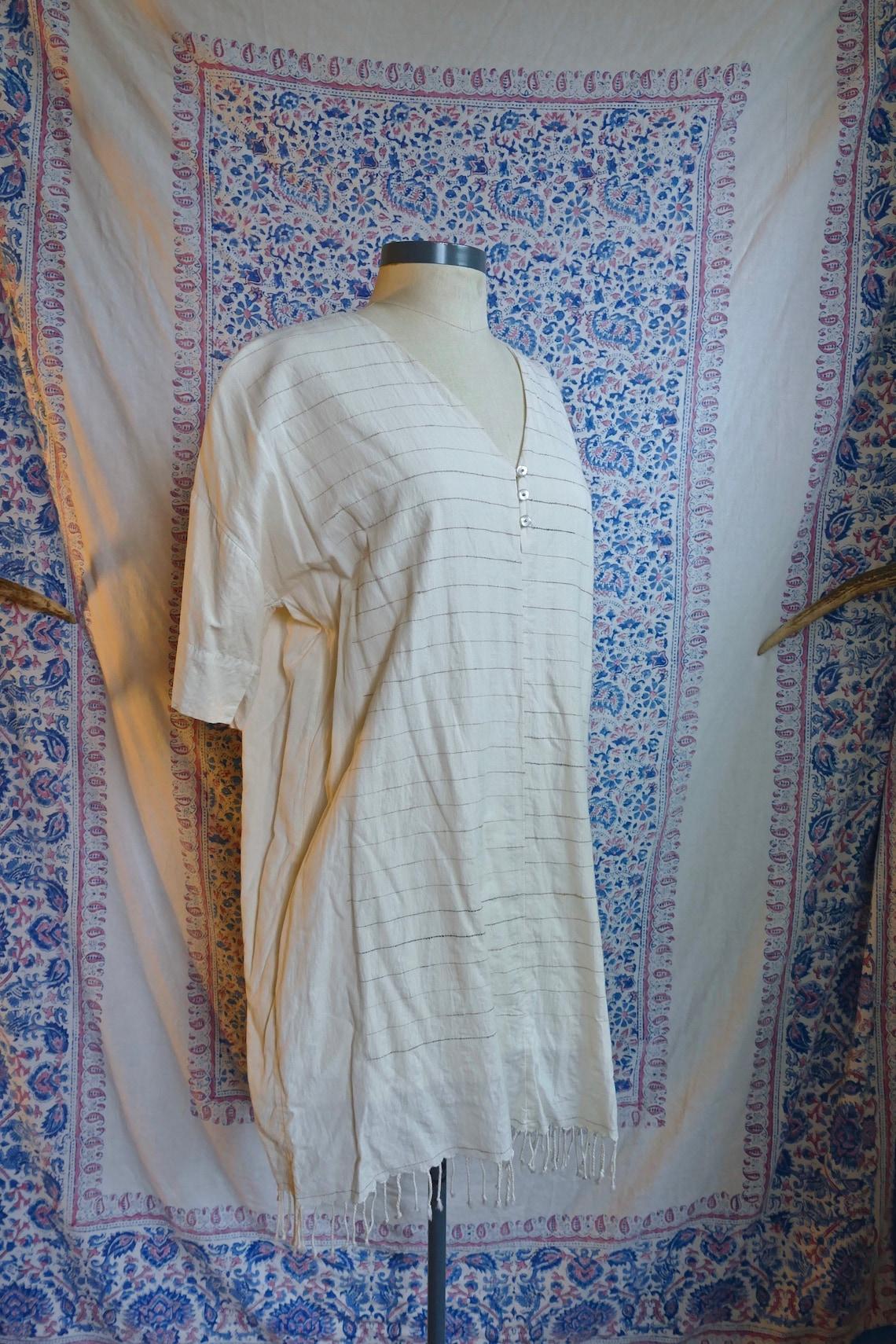 Striped and Tasseled White Cotton Gauze Tunic