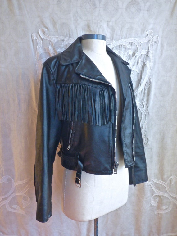 Fringe Leather Biker Jacket