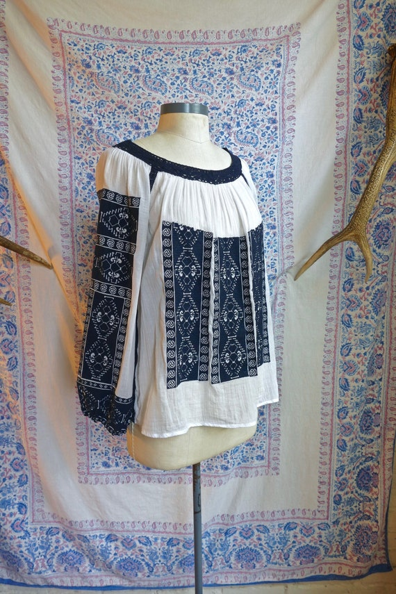 Embroidered Gauze Cotton Folk Blouse - image 1