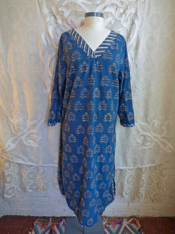 Golden Wood Block Print Indian Gauze Cotton Caftan
