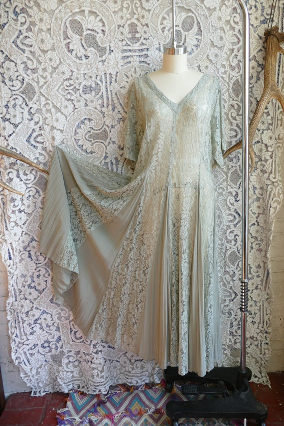 Sheer Pale Green Lace and Rayon Crepe Grunge Dress