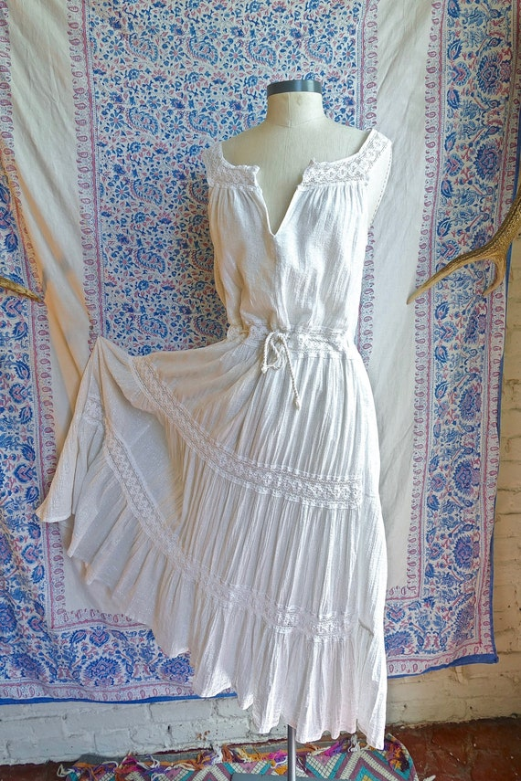 White Gauze and SIlver Lurex Indian Cotton Dress