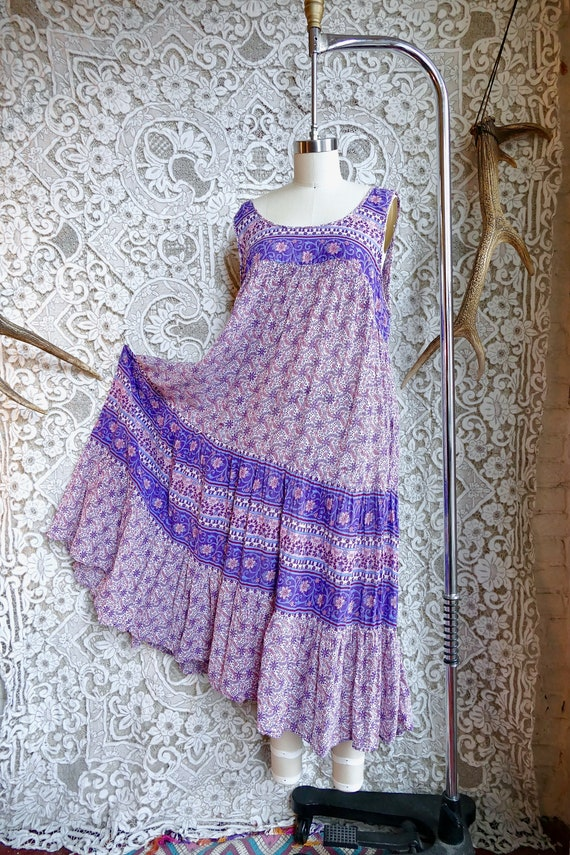 Lavender Indian Gauze Cotton Tent Dress - image 9