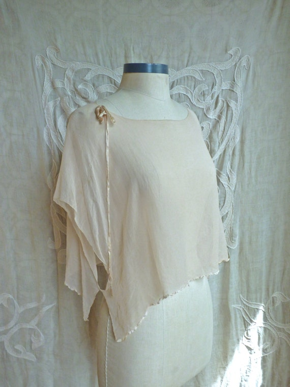 Sheer Pale Pink Silk 1920s Blouse