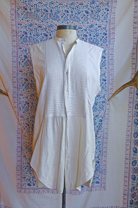 Cut Sleeve Vintage Edwardian Woven Shirt As Is - image 3
