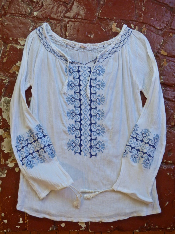 Blue Embroidered White Gauze Cotton Peasant Blouse