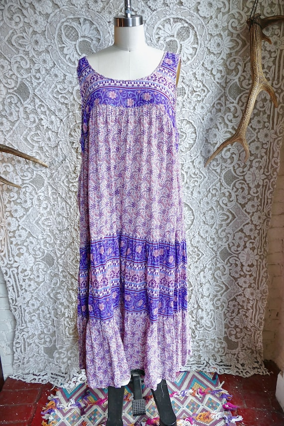 Lavender Indian Gauze Cotton Tent Dress - image 2