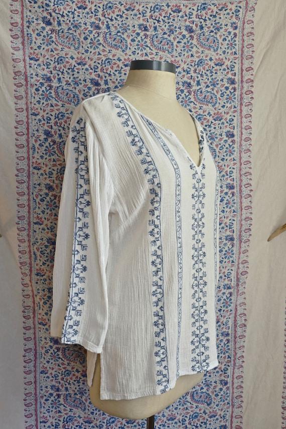 Blue Embroidered White Gauze Cotton Blouse