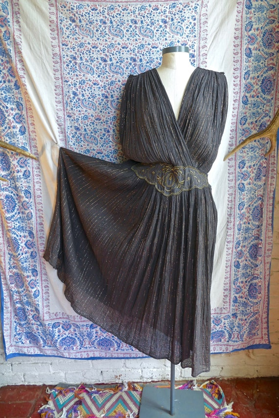Black and Gold Gauze Cotton Greek Dress