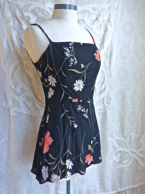 Black Floral Grunge Mini Dress Tunic