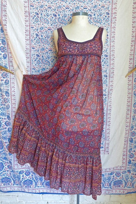 1970's Indian Gauze Cotton Dress As Is