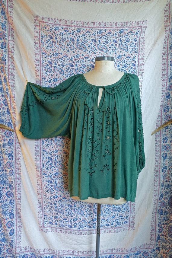 Green Indian Gauze Blouse with Mirror Embroidery