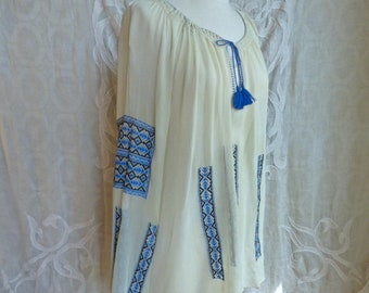 Blue Embroidered Sheer Silk Peasant Blouse