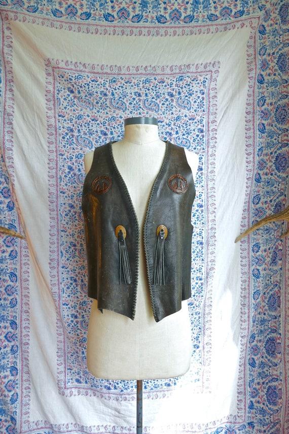 Handmade Fringe Leather Patchwork Vest