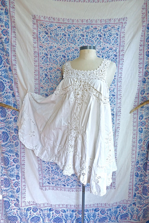 Ivory Linen and Crochet Lace Tunic