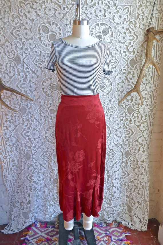 Red Satin Jacquard Bias Cut 90's Skirt