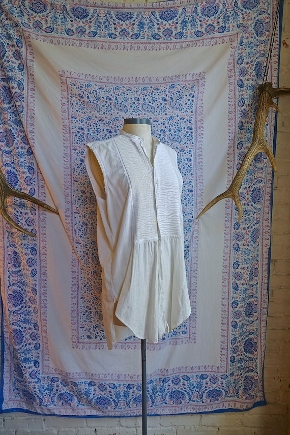 Cut Sleeve Vintage Edwardian Woven Shirt As Is