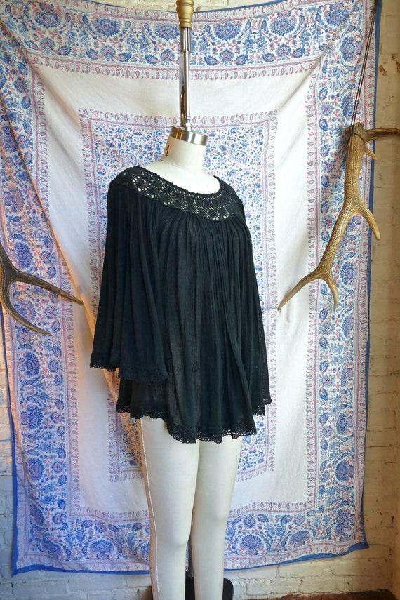 Black Gauze and Crochet Cotton Peasant Top