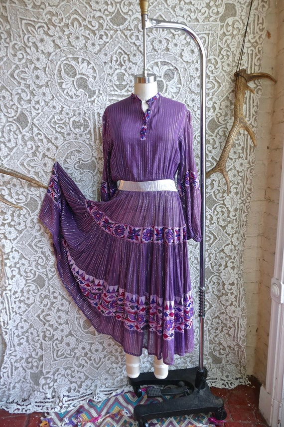 Purple Indian Gauze Cotton and Silver Lurex Peasan