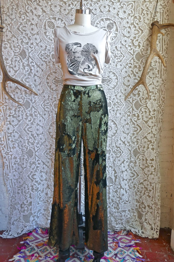 Green Sequined Wide Leg Trousers