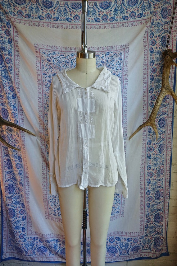 Sheer White Embroidered Cotton Blouse