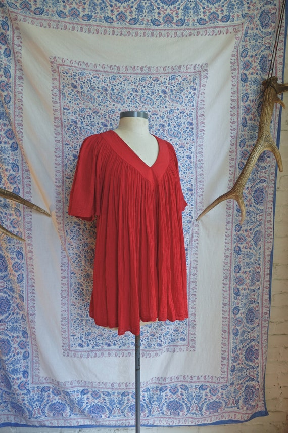 Amerikan Climax Red Crinkle Cotton Blouse