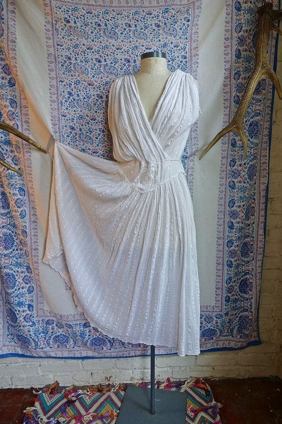 Ivory Sheer Gauze Greek Dress
