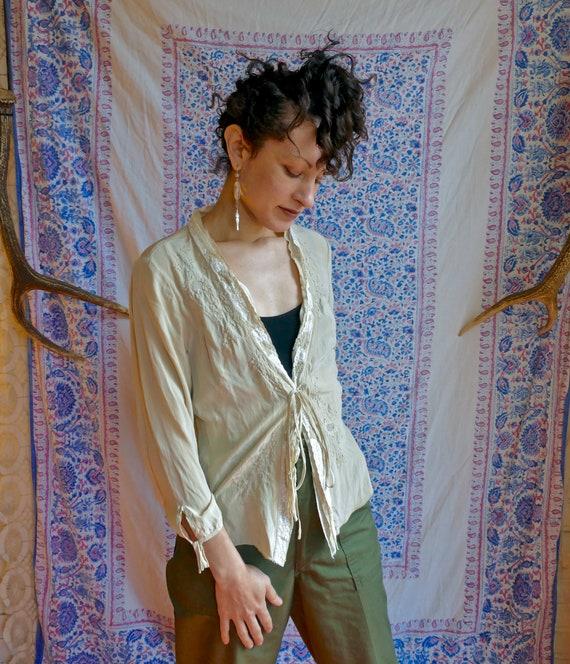 Applique Silk Lace Bed Jacket