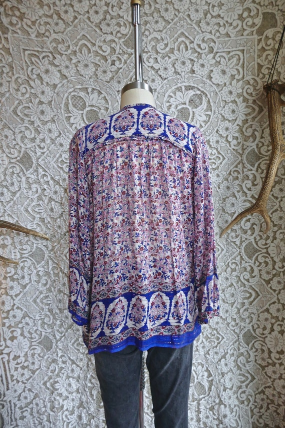 Floral Indian Metallic Gauze Cotton Blouse - image 7