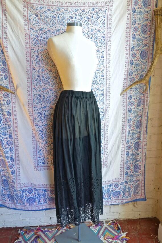 Black Eyelet Cotton Maxi Skirt