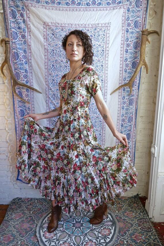 Sheer White Rayon Floral Grunge Dress
