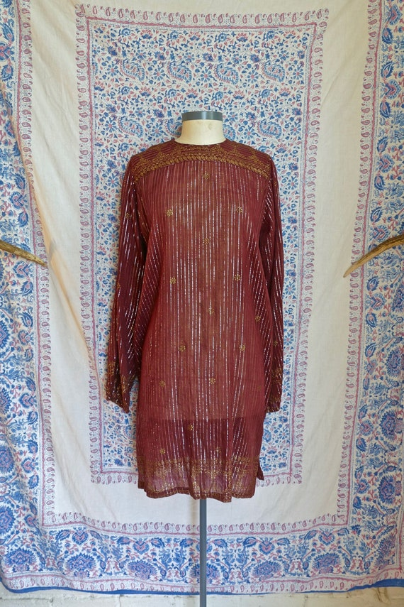 1970's Indian Gauze Cotton and Lurex Tunic