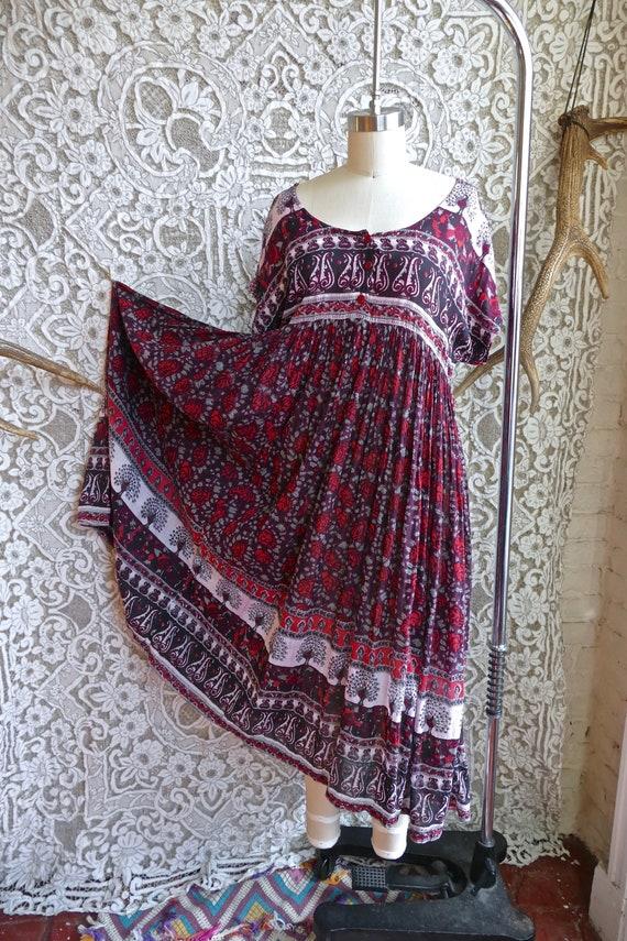 Burgundy Indian Gauze Cotton Peacock Print Tent Dr