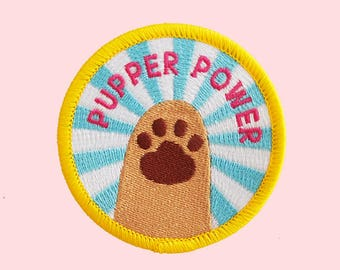 pupper power patch // dog patches, dog patch, patches, cute patch, funny patch, animal patch, pet patch, doggo patch, dog lover gift idea