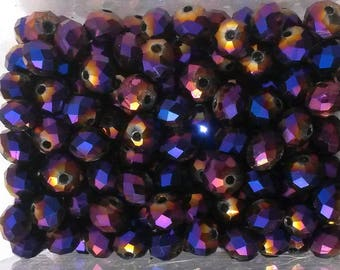 10 dark purple faceted round beads 6 * 8mm Crystal AB metallic reflection