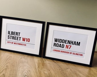 London themed Street Sign. PERSONALISED: Street name, Family name, Proposal Location, Wedding Venue, Kids bedroom, Teenager, Business Sign