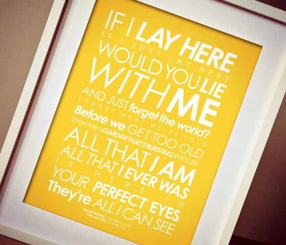 Snow Patrol fan art Chasing Cars 3RD-VERSE lyrics print.