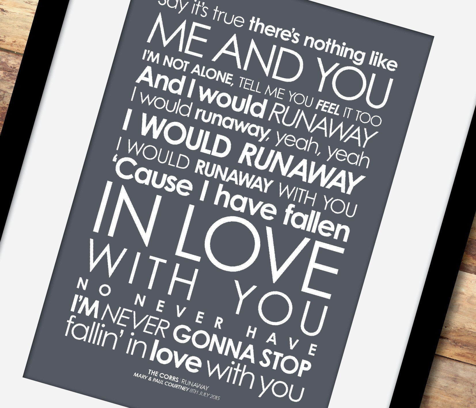 Corrs - Runaway - LYRICS print  Option to add a PERSONALISED MESSAGE  [Digital file, Print or Framed] Free delivery!