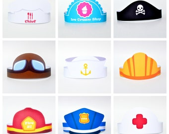 Paper Hats Set 10 Images Characters And Professions DIY Template Of Crowns Photosession Props Birthday Party DIGITAL