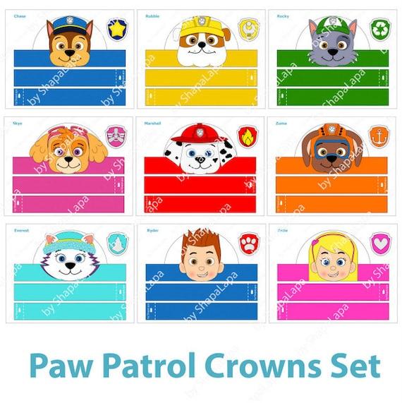 Paw Patrol Paper Crowns Set 9 Diy Crowns Template 9 Paw Patrol Badges Paw Patrol Photo Booth Props Template Kit Digital