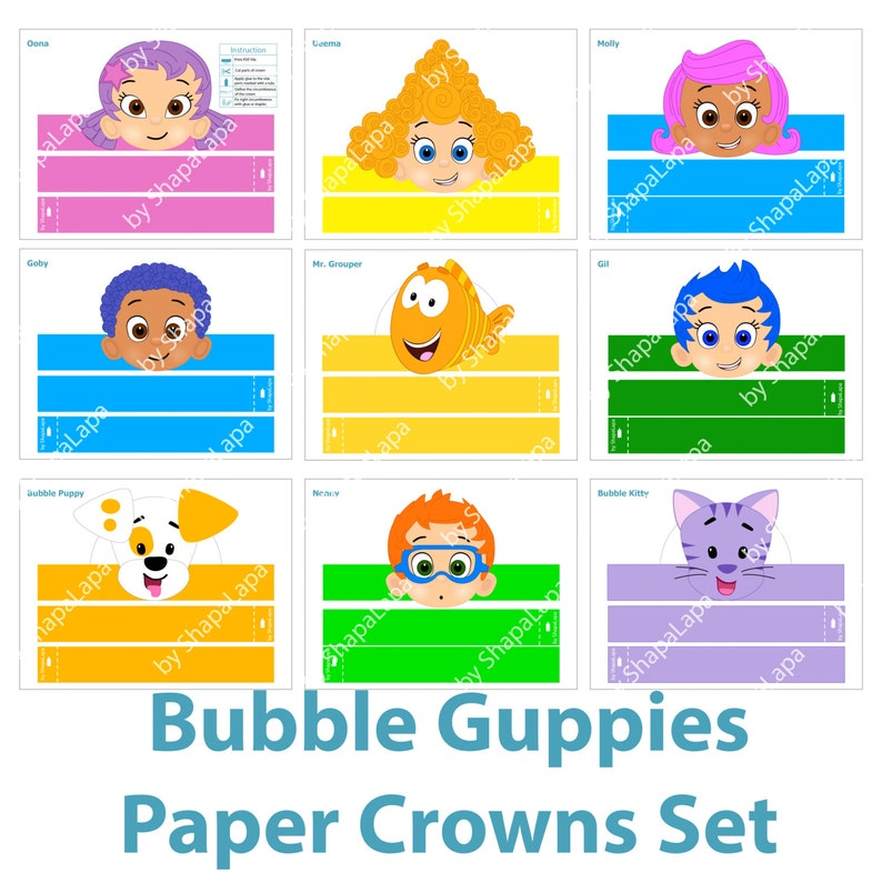 Bubble Guppies Heroes Paper Crowns Set 9 DIY Template Photo Booth Props Kit DIGITAL