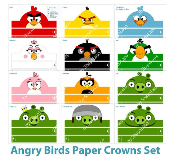angry birds paper crowns set 12 diy crowns template angry etsy