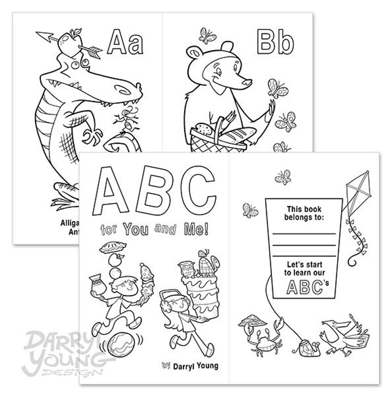 photograph relating to Alphabet Flash Cards Printable Black and White identified as Alphabet Coloring E-book, Electronic Printable - ABC for Yourself and Me - 5.5 x 8.5\